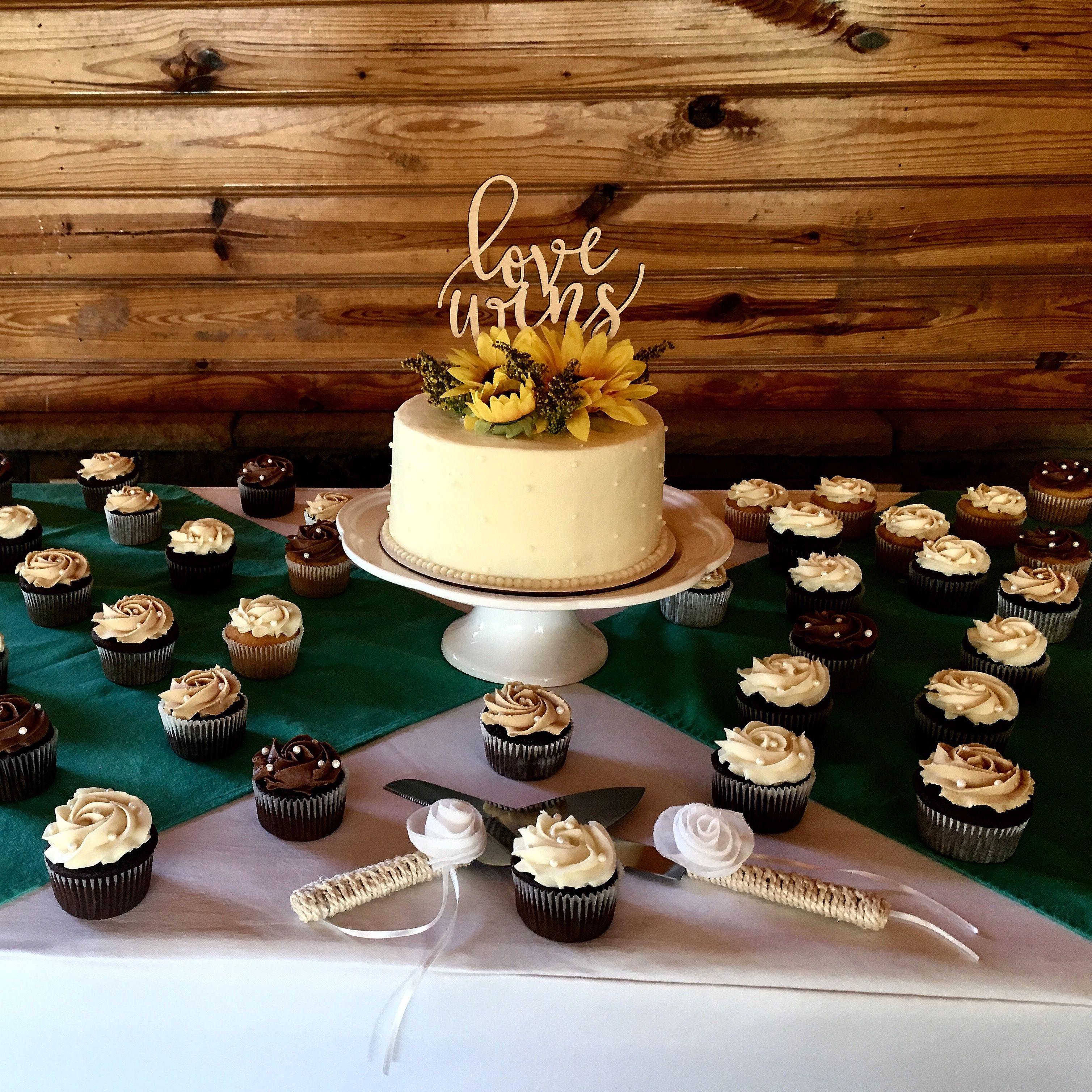Simple rustic wedding cake and cupcakes Wedding cupcakes