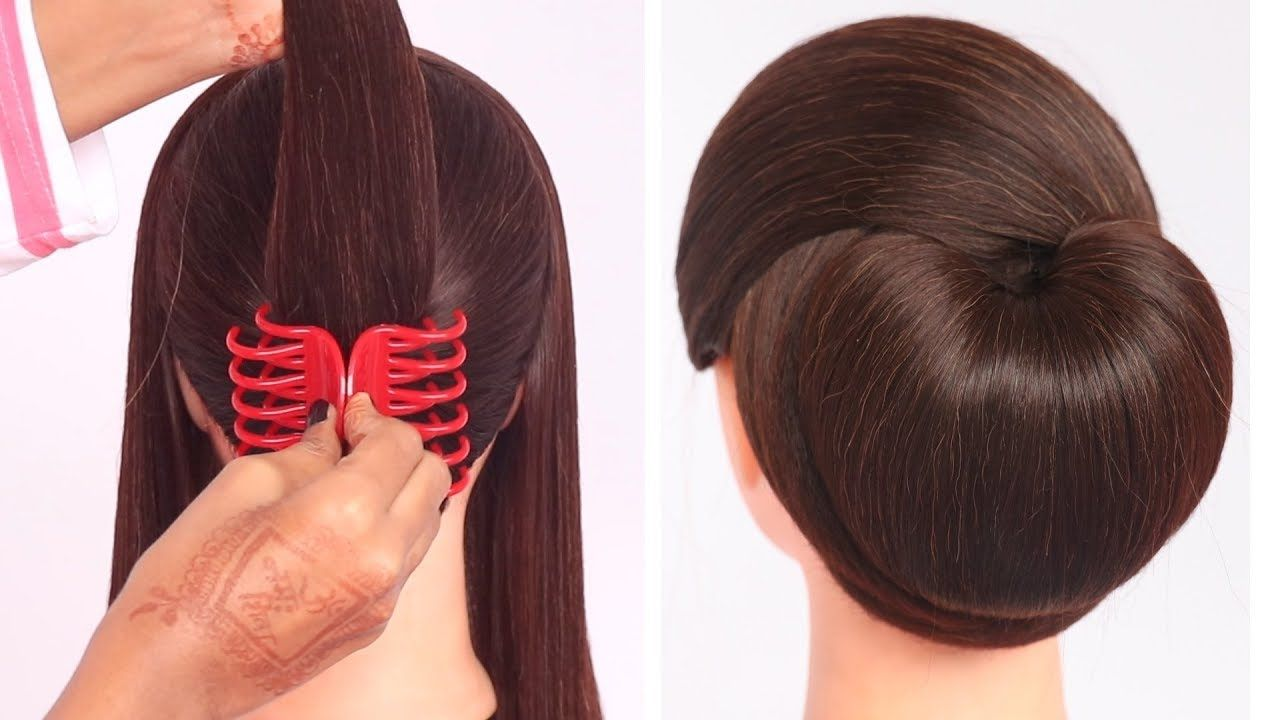 very easy hairstyle with using clutcher   try on hairstyle ...