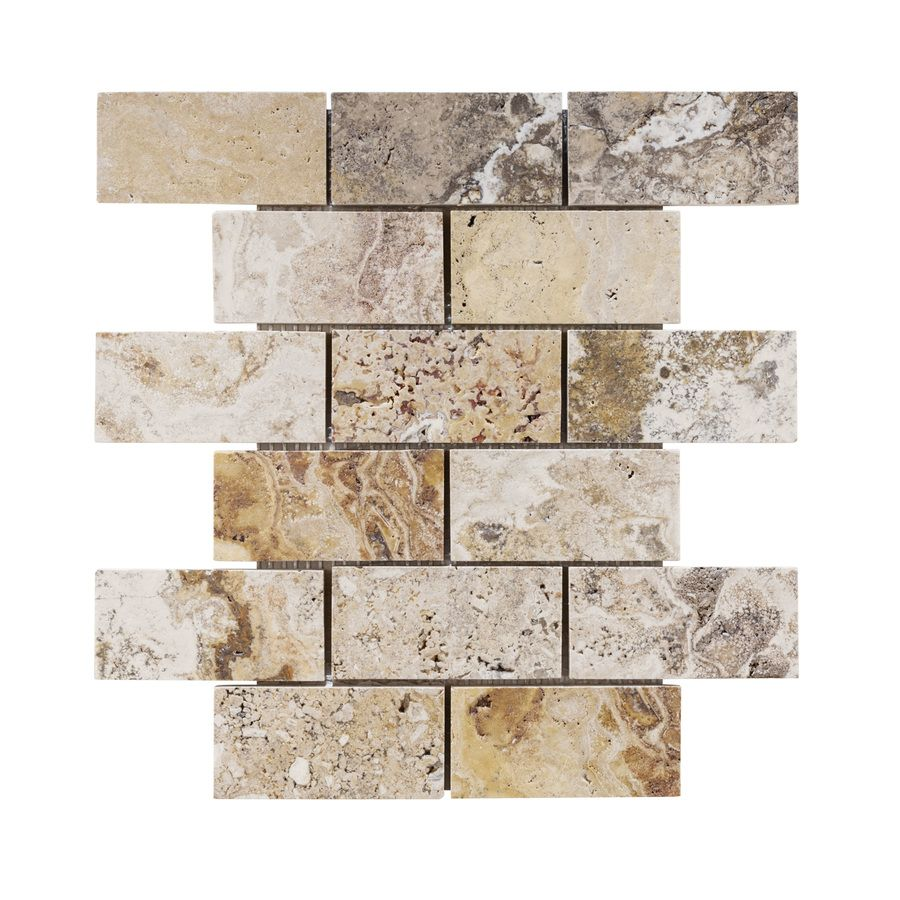 Shop Allen Roth A R Beige Brick Mosaic Travertine Floor And Wall Tile Common X Actual