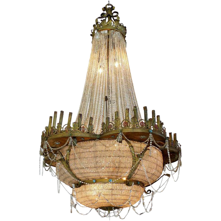 A spectacular 13.5 foot tall antique chandelier was originally installed in  an early 20th century Chicago - Monumental Bronze And Crystal Theatre Ballroom Chandelier Circa 1915