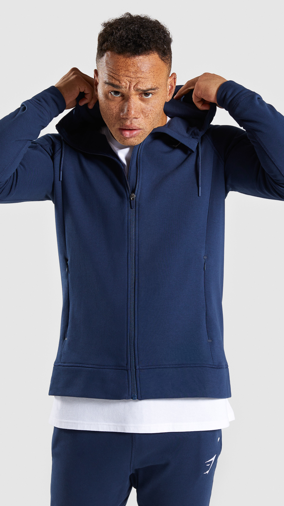 Principle Zip Hoodie, Sapphire Blue. Constructed from soft