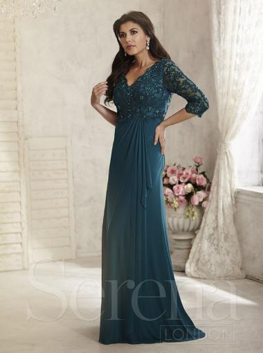 2016 V-neck Chiffon Long Mother of The Bride Dress Serena London Style 17811