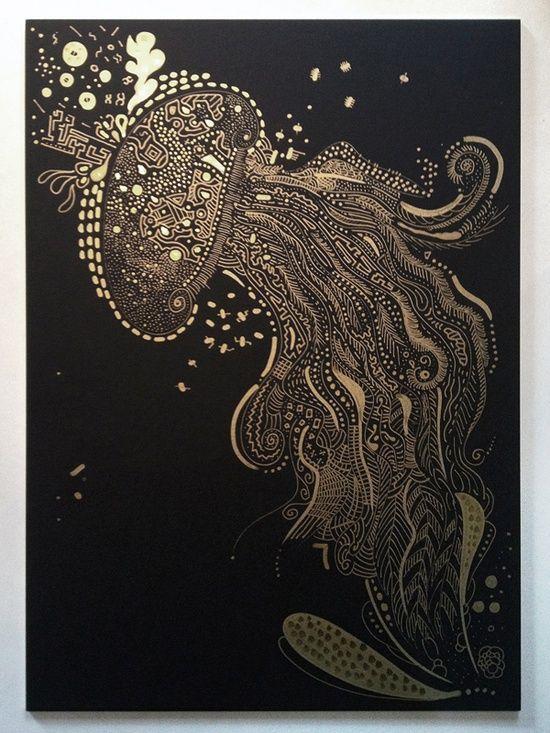 Zentangle Jellyfish.Gold marker on black cardboard.
