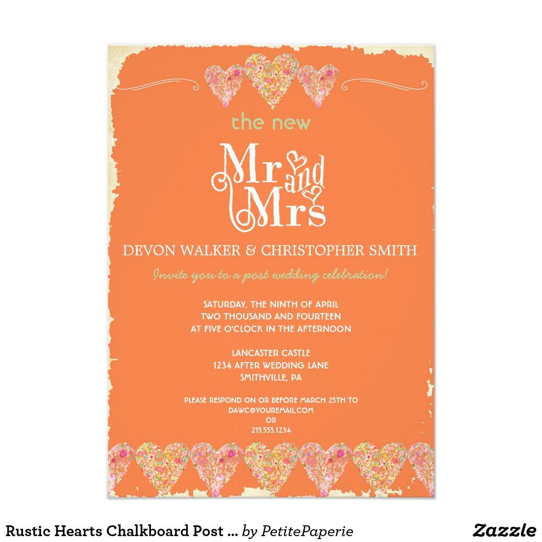 Rustic Hearts Chalkboard Post Wedding Invitation | Chalkboard ...