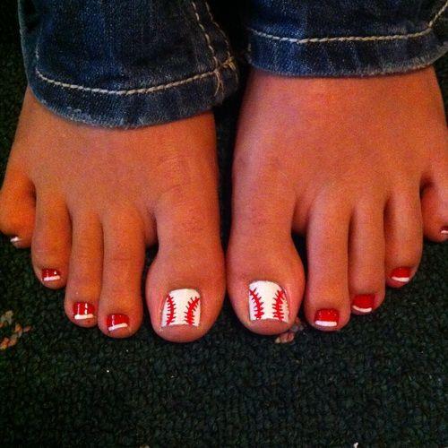 Baseball or softball toe nails. Gotta remember this for next season! - Toe Nail Art Designs 2014 Softball Nail Art Designs – Nail Design