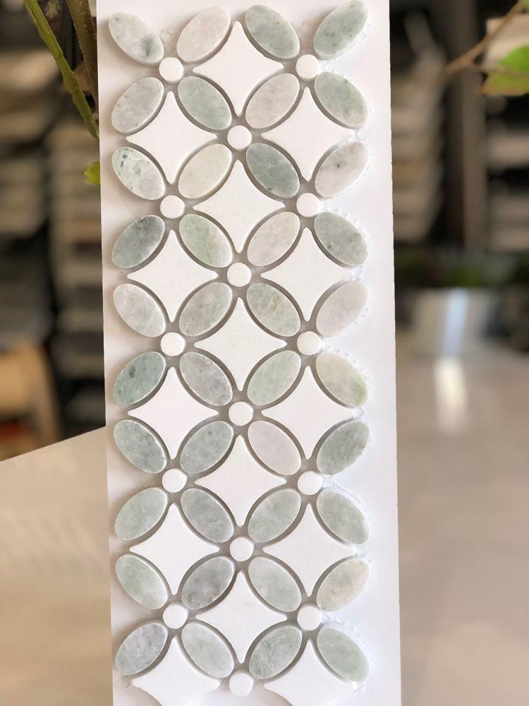 Sheet Size 13 1 8 X 13 1 8 Sheet Coverage 1 19 Sqf Tile Shape Flower Tiles Per Sheet 192 Tile Thickness 3 8 Tile Backsplash Backsplash Flower Tile