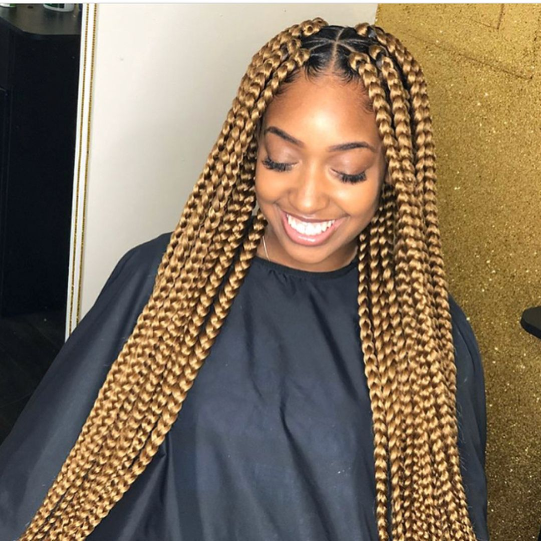 Neat Braids Plus Lovely Hair Colour Swipe For More Follow Nig Blonde Box Braids Blonde Braids Box Braids Hairstyles For Black Women
