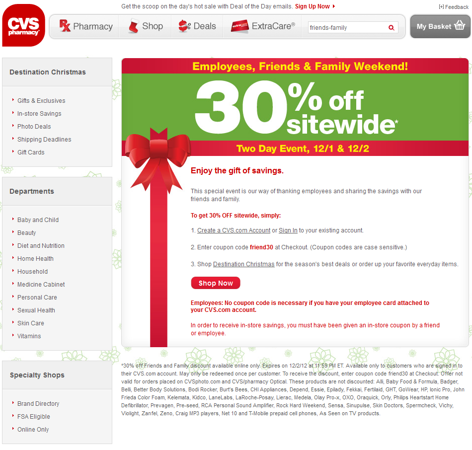 30 off everything online at cvs pharmacy via promo code friend30