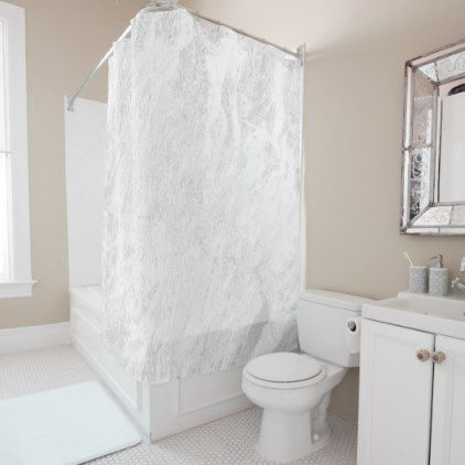 #Marble Stone Abstract White Gray Silver Contempora Shower Curtain - #white #marble #gifts