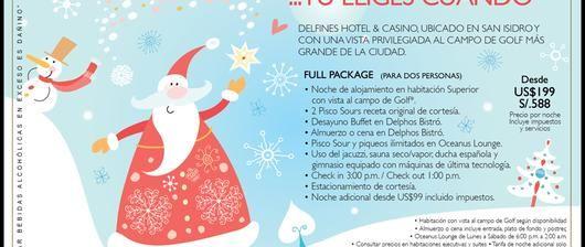 ¡15% de descuento solo por hoy viernes 30 en DELFINES HOTEL & CASINO! Reservas: 215 7000 / reservas@losdelfines.com.pe
