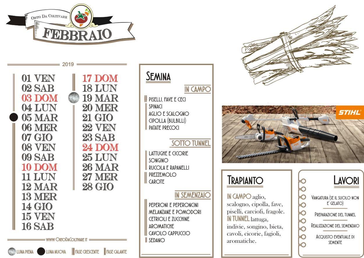 Calendario Cipolle 2019.Calendario Dell Orto Di Febbraio 2019 Luna Semine E Lavori