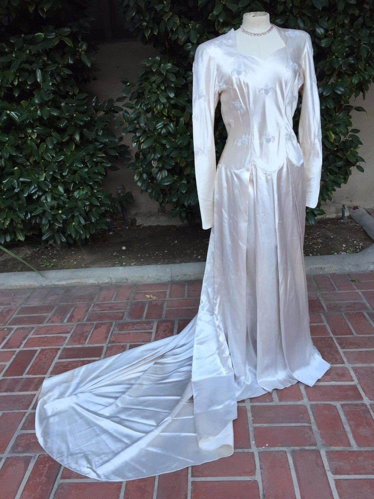 1940's WEDDING GOWN Skinner Satin, Beads, Cathedral train