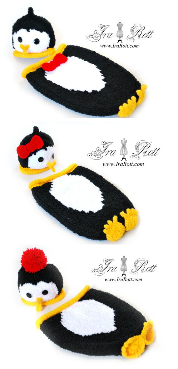 Penguin Hat and Sleeping Bag Set for Newborn - READY to SHIP | Bebe ...