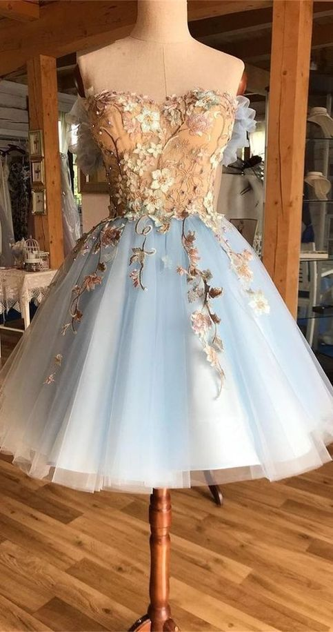 A-Line Off-the-Shoulder Above-Knee Light Blue Homecoming Dress with Appliques