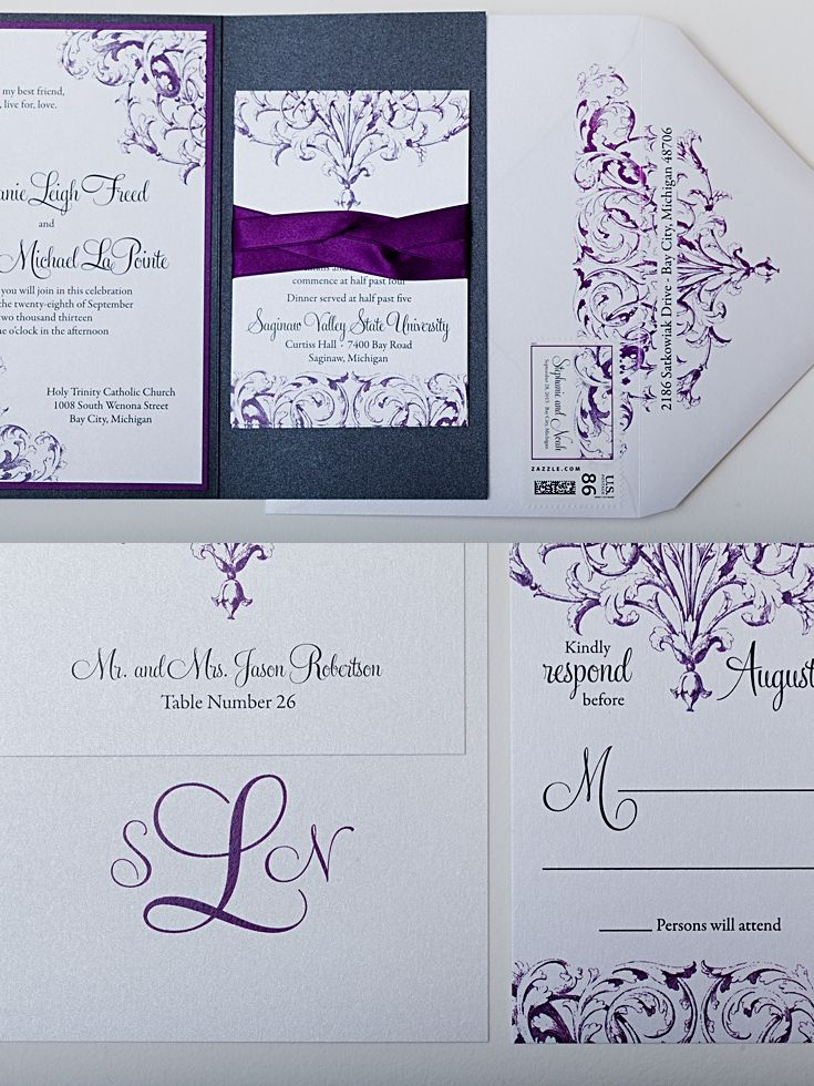 Purple Pewter and White Custom Wedding Invitations
