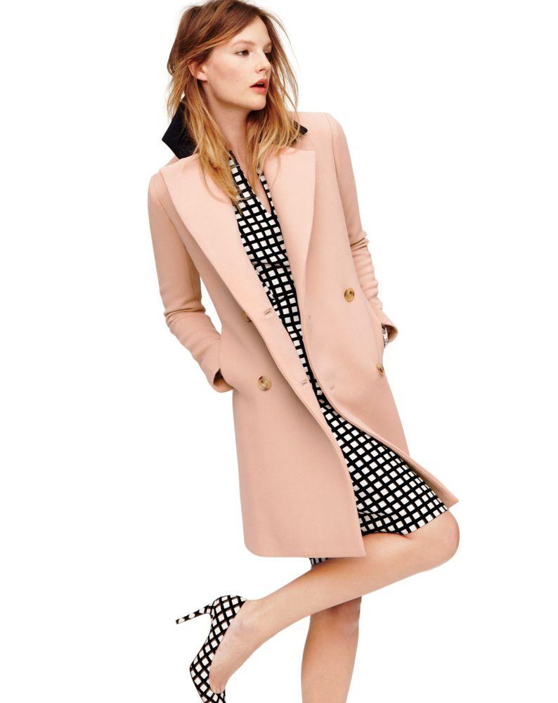 J.Crew contrast collar topcoat and split neck dress in windowpane. Love the pink coat