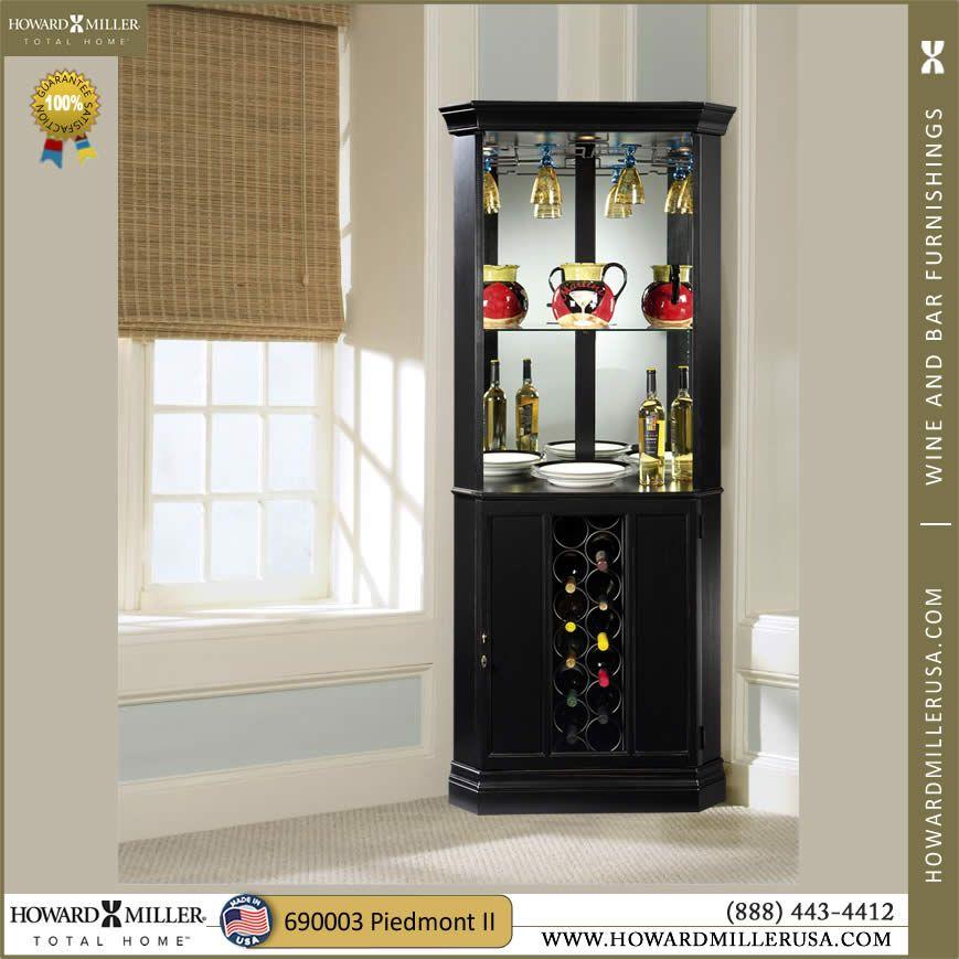690003 Howard Miller Black Wine Bar Corner Cabinet Piedmont Ii