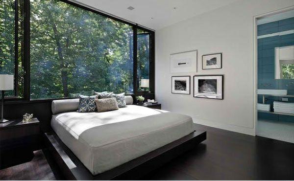 dunkler holzboden verlegen modernes schlafzimmer im asiatischen