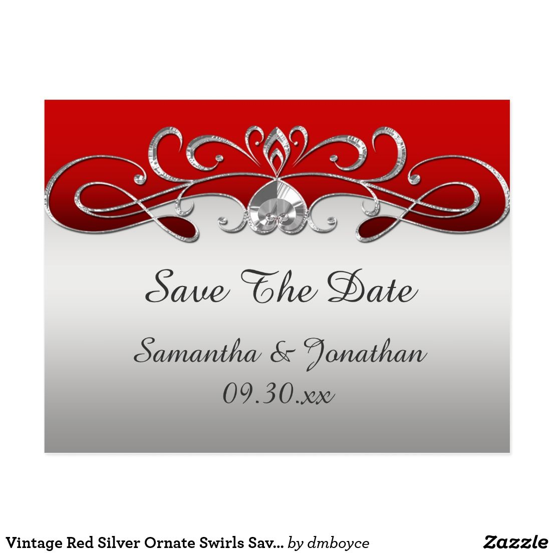 Vintage Red Silver Ornate Swirls Save The Date Postcard | Weddings