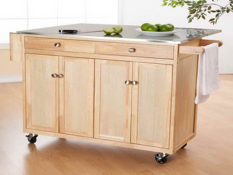 Wooden Portable Kitchen Island Wheels