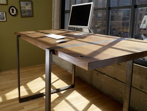 Custom Made Walnut And Steel Standing Work Desk