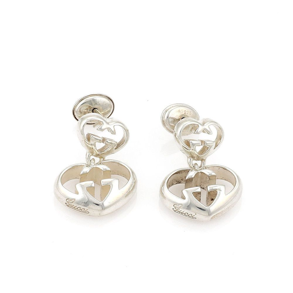4f953760745 Gucci Love Britt Double Hearts Sterling Silver Dangle Earrings (eBay Link)
