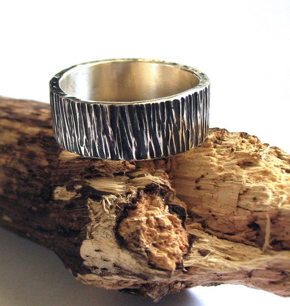Items Similar To Mens Wedding Band Ring Tree Bark Wide Sterling Silver Wood Texture Thick Rugged Woodsman On Etsy