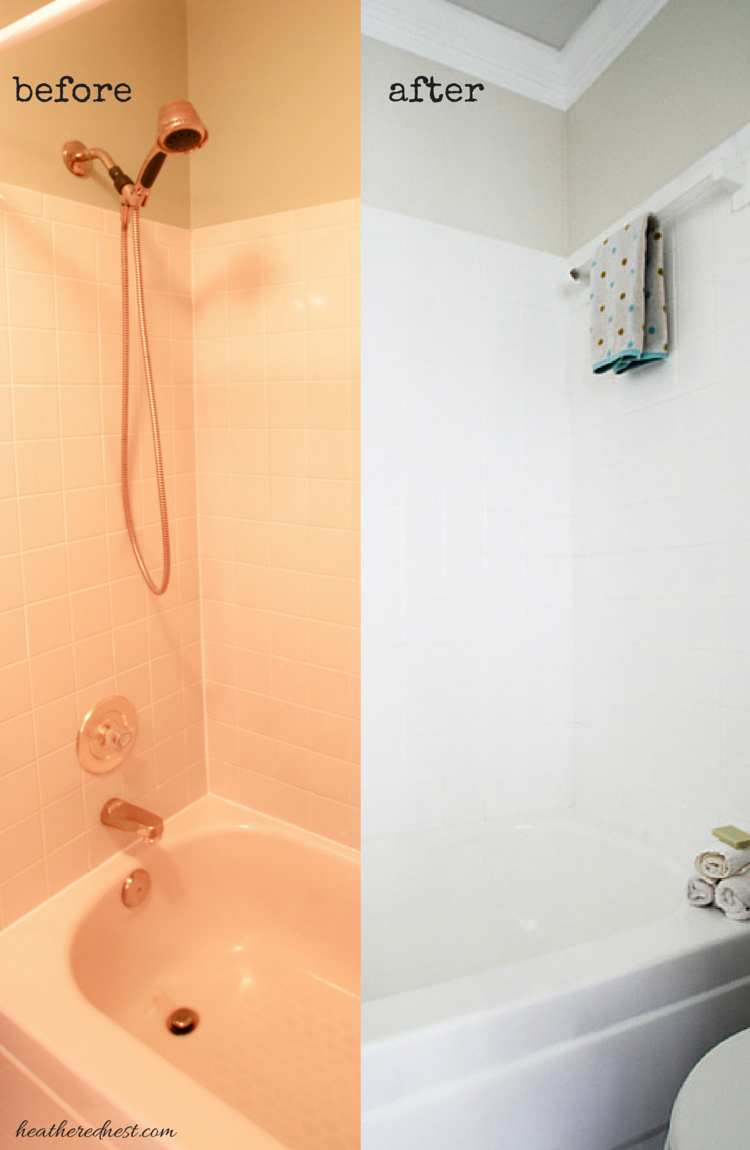 Painted tiles in bathroom - Painting Tiles With A Rust Oleum Touch Up Kit