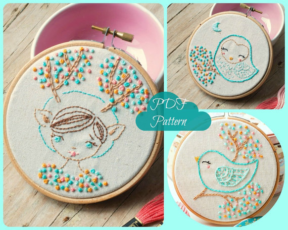 Pdf Hand Embroidery Pattern Deer Girl Owl And Bird Embroidery
