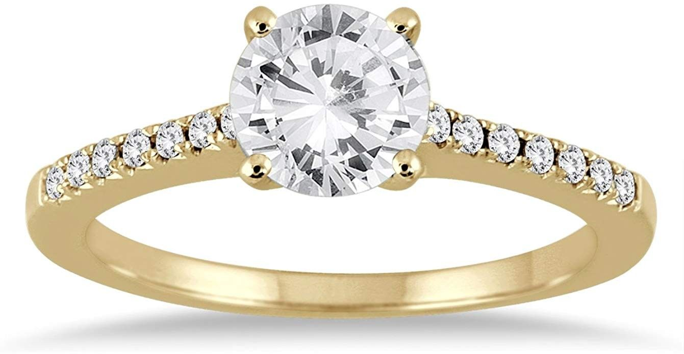 Ags Certified 1 1 10 Carat Tw Diamond Ring In 14k Yellow Gold H I Color I1 I2 Clarity Diamonds Engagementring Diamond Ring Diamond Diamond Engagement Rings