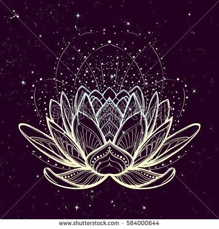 Lotusblume. Intrikate, stilisierte lineare Zeichnung auf Stock-Vektorgrafik (Lizenzfrei) 584000644