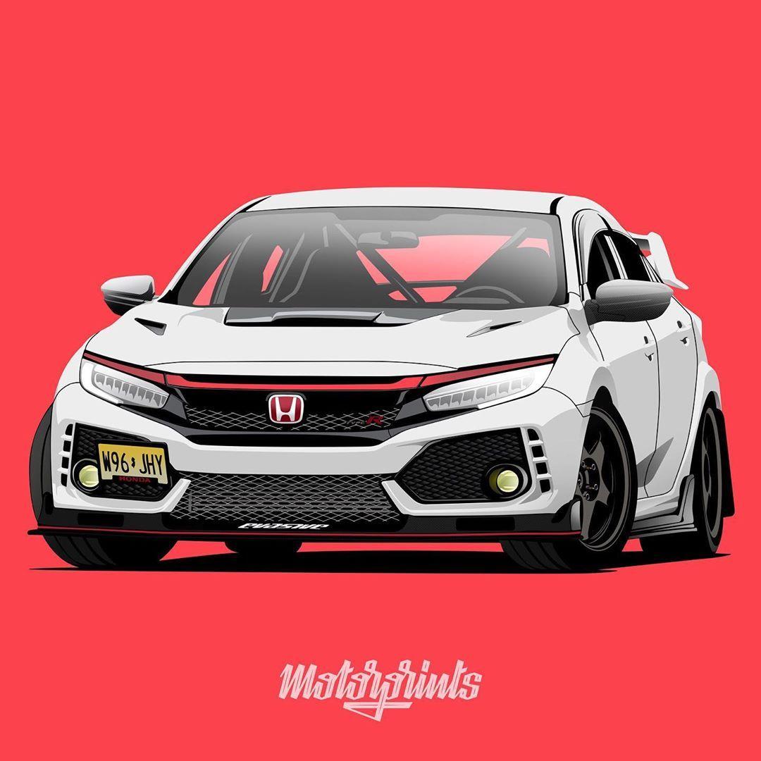 Motorprints On Instagram Honda Civic Type R 2017 Owner Fr3dflin Collector Order Illustration Of Your Car Writ Honda Civic Honda Civic Type R Civic Car