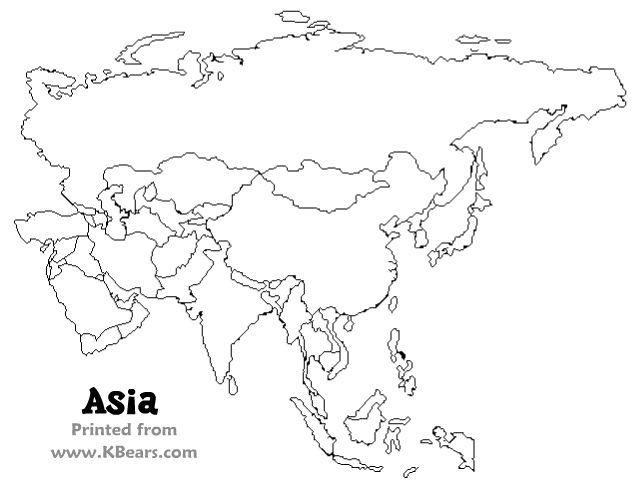 Printable coloring maps for kids Asia map, East asia map