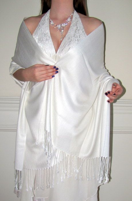 White Bridal Wedding Bridesmaids Pashmina Shawl Wrap Scarf 1999 On Sale