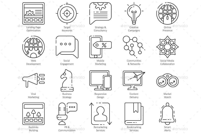 Seo Line Icons Ad Seo Aff Line Icons Marketing Icon Education Icon Marketing Strategy Design