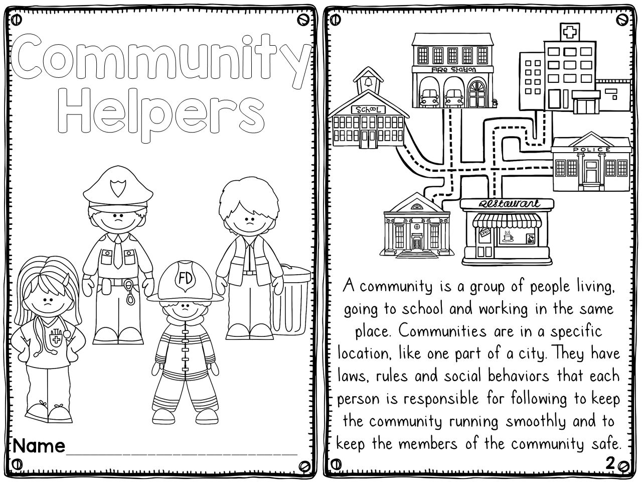 Community Helpers printable reader with differentiated