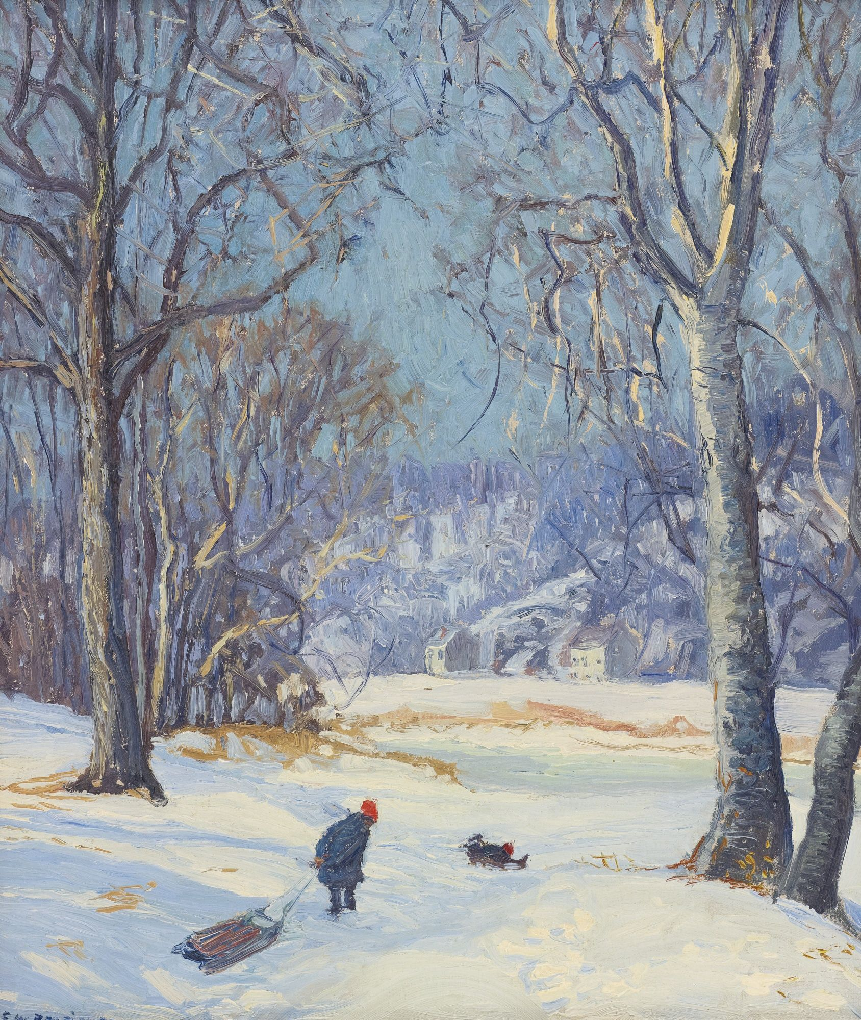 """""""Winter Sports,"""" Edward Willis Redfield, oil on canvas, 21 3/4 x 18 1/4"""", private collection."""