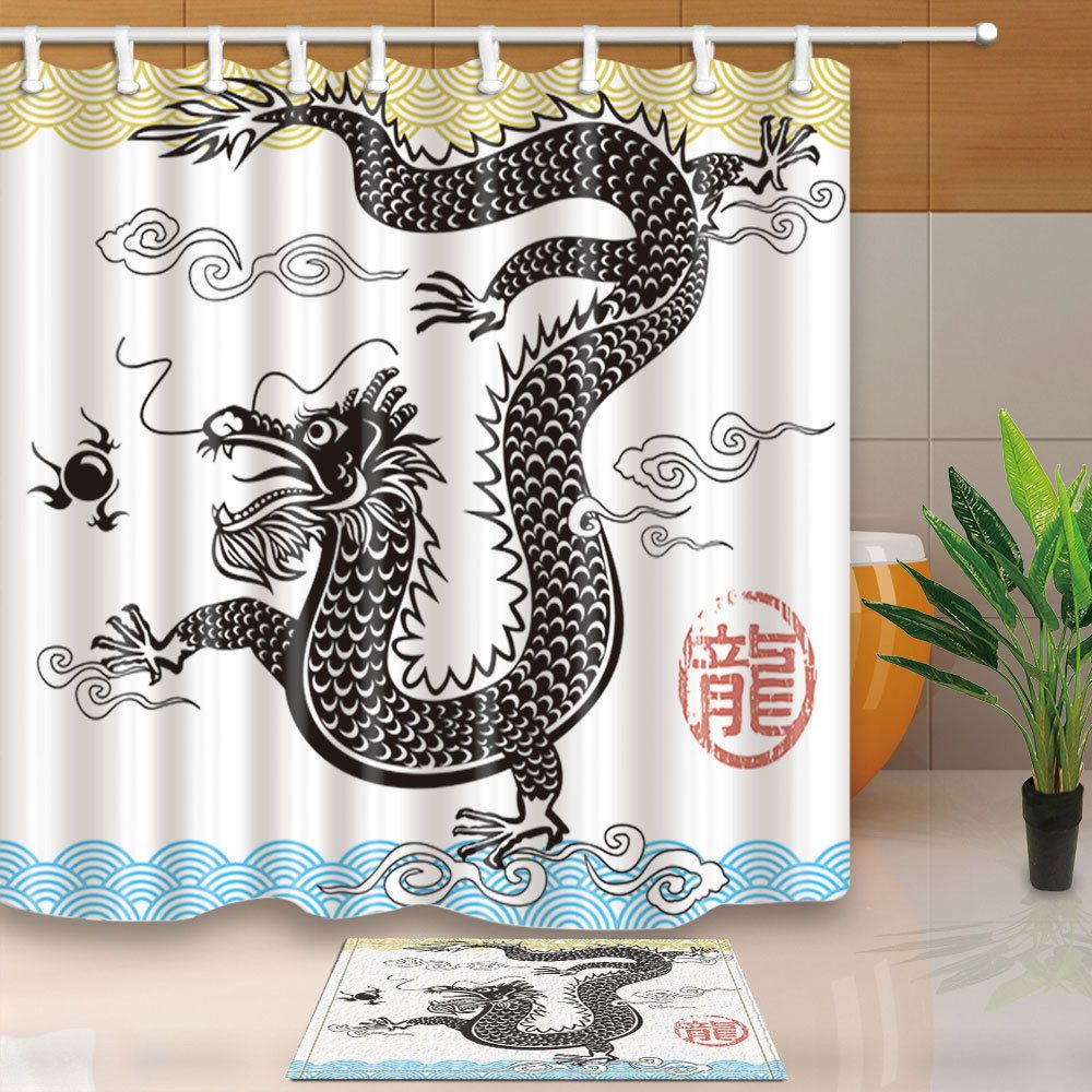 Asia Style Fabric Shower Curtain set Chinese Traditional Dragon ...