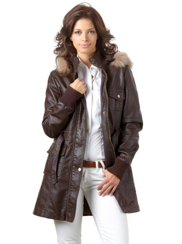 acffe45b79e Chaqueta parka mujer con capucha símil piel