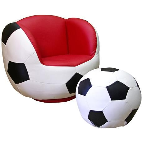 Athletik Swiveling Soccer Chair With Ottoman More