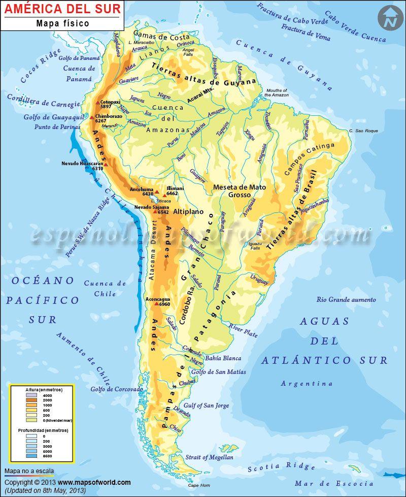 Map América Del Sur Medio Físico Mapa De America Mapa De America Del Sur Mapa Fisico