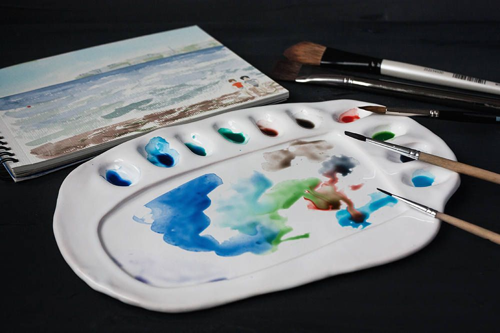 Artist Gift Ceramic Watercolor Palette Clay Color Mixing Tray Painting Teacher Gift White Paletter Bac Watercolor Palette Artist Gifts Ceramics Projects