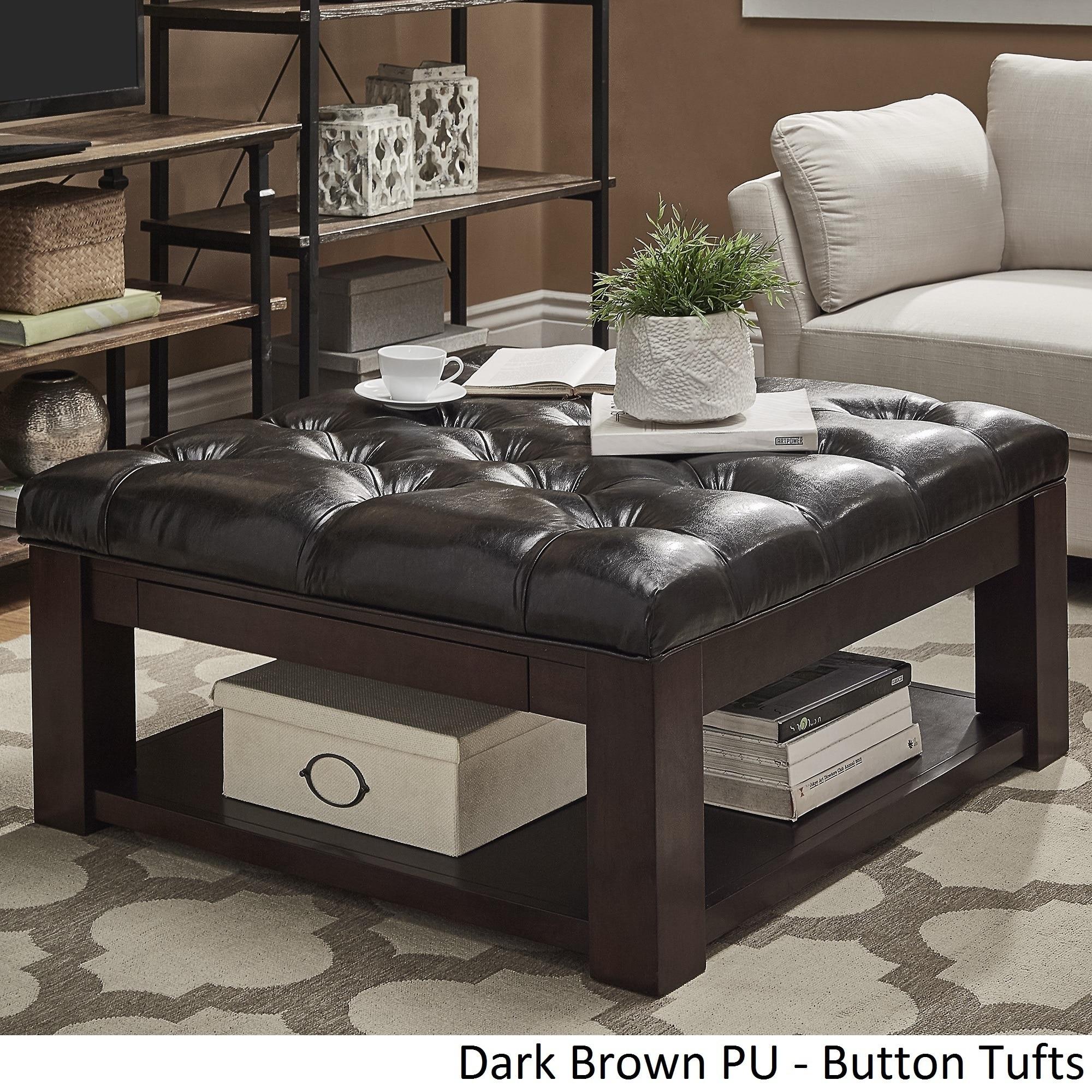 Lennon Espresso Square Storage Ottoman Coffee Table By Inspire Q Clic Dark Brown Pu On Tufts