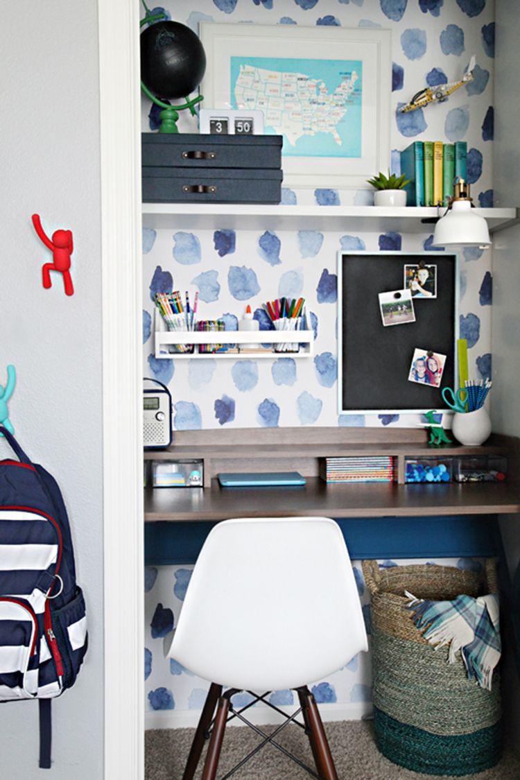 6 Organized Closet Ideas For Kids Tag Tibby Design Kids Desk Space Closet Desk Kids Room Desk