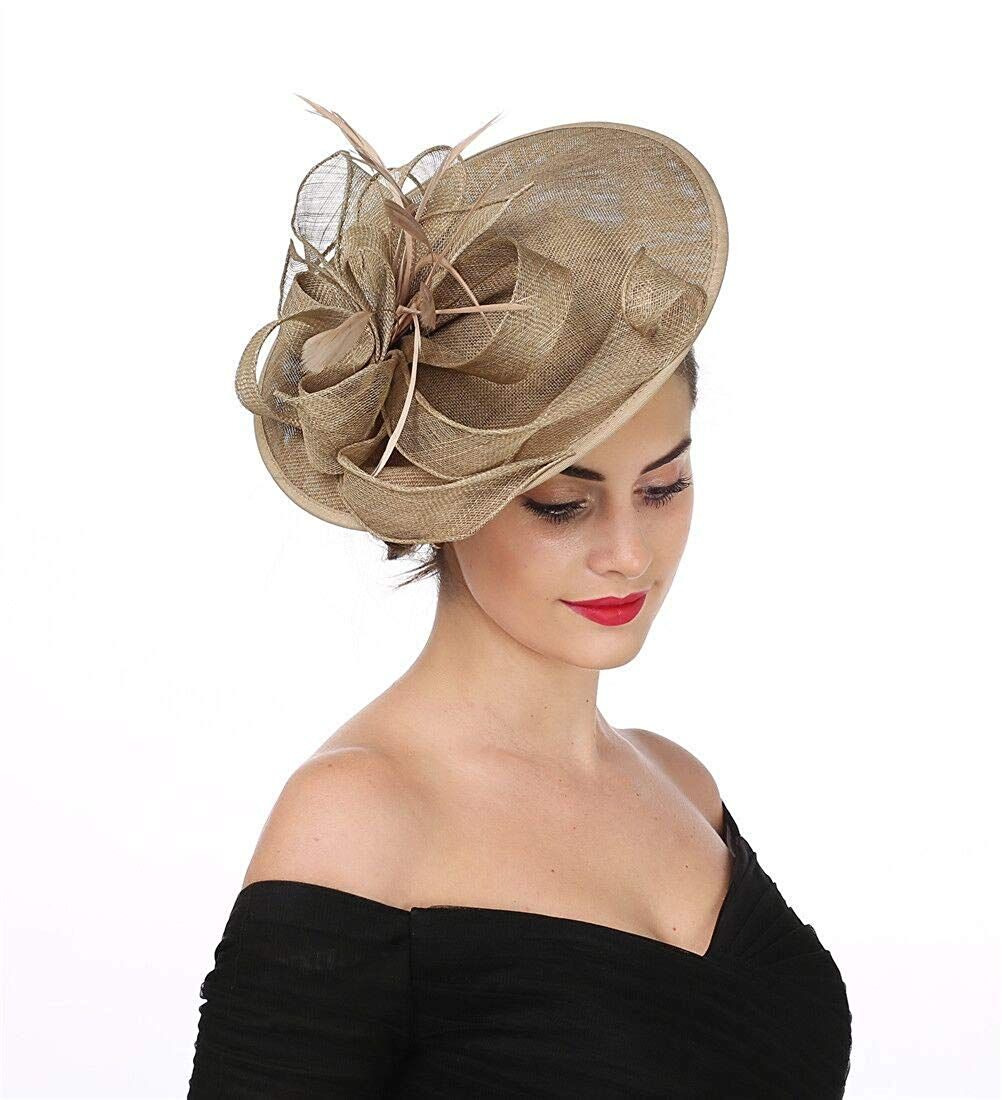 Saferin Fascinator Hat Feather Mesh Net Veil Party Hat Flower Derby Hat With Clip And Hairband For Women Ta2 Foral M Fascinator Hat Fascinator Fascinator Hats