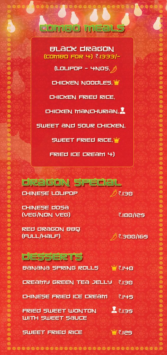 Combo Meals, Dragon Special, Desserts
