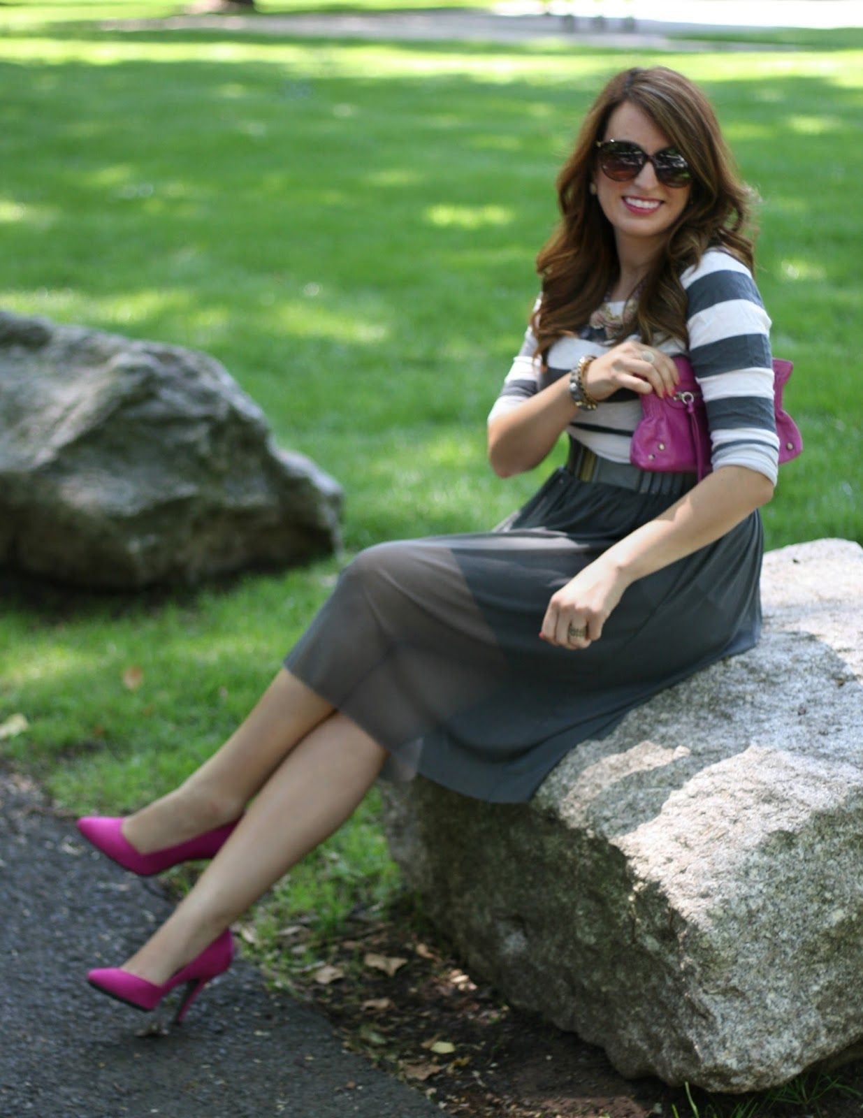Tulle skirt, striped top, pink accessories