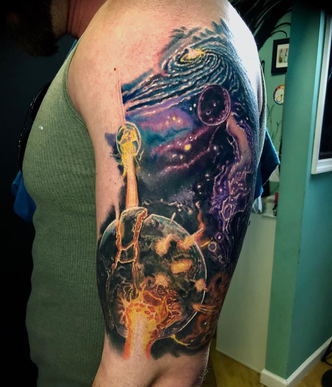 Reposting ltwoodsart this is a space sleeve in progress