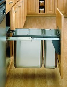 30 Liter Under Sink Mount Stainless Steel Pull Out Waste Container