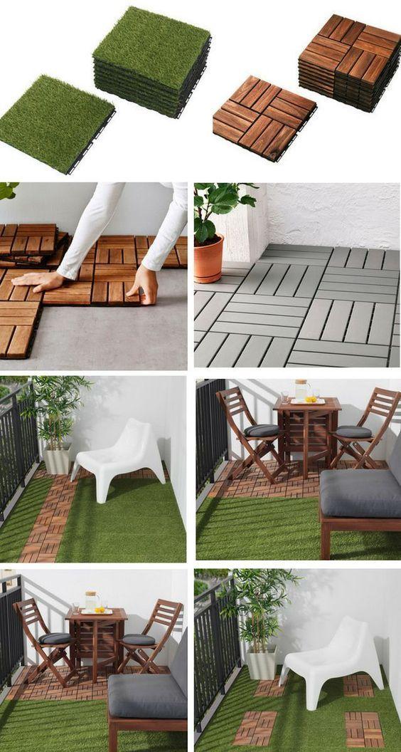 Photo of IKEA Rasen- und Holzgitterfliesen #Balkon #Betonterrasse #Garten- und Terrasseni…